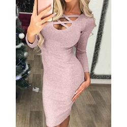 Sexy Hollow Nine Points Sleeve Pullover Bodycon Women's Dress