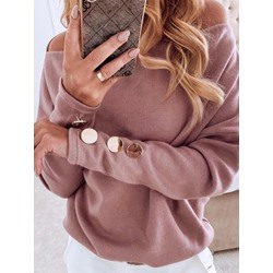 Casual Button Off Shoulder Long Sleeve Women's Sweater