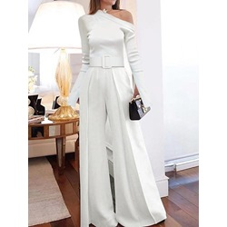White Elegant Plain Full Length Slim Women's Jumpsuit