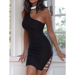 Black Rhinestone Sleeveless Split Above Knee Sexy Women's Dress