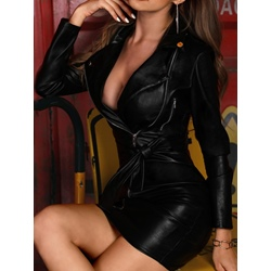 Sexy Black Long Sleeve Lapel Mid Waist Bodycon Women's Dress