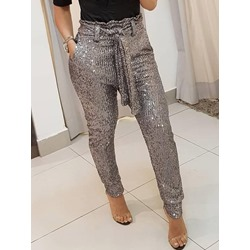 Gray Slim Sequins Full Length Women's Casual Pants