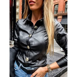 Black Fashion Slim Single-Breasted Women's PU Jacket