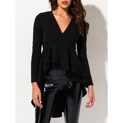Black V-Neck Pleated Mid-Length Long Sleeve Women's T-Shirt