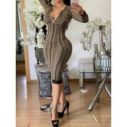 Sexy Print Stripe Zipper Mid-Calf Long Sleeve Women's Dress