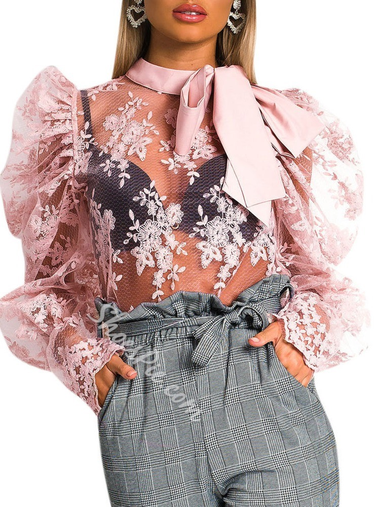 Sweet Lace Bowknot Hollow Puff Sleeve See-Through Women's Blouse