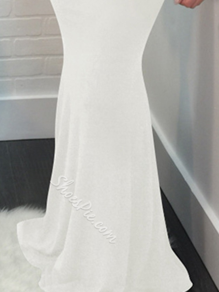 Sexy White Backless Floor-Length V-Neck Bodycon Women's Dress