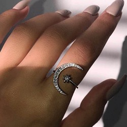 Romantic Diamante Moon Shape Rings