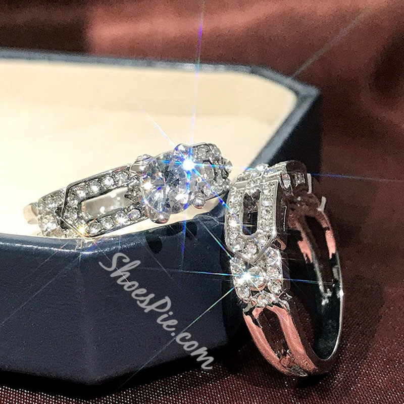 Romantic Diamante Anniversary Wedding Rings