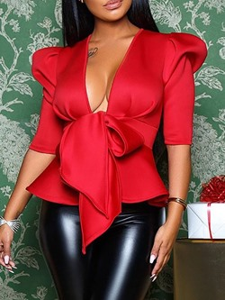 Red V-Neck Puff Sleeve Bowknot Women's Blouse