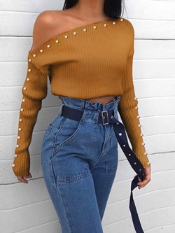 Sexy One Shoulder Button Long Sleeve Women's Sweater