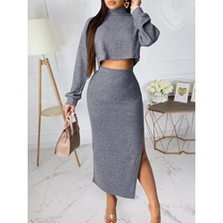 Shoespie Long Sleeve Plain Skirt Casual Women's Two Piece Sets