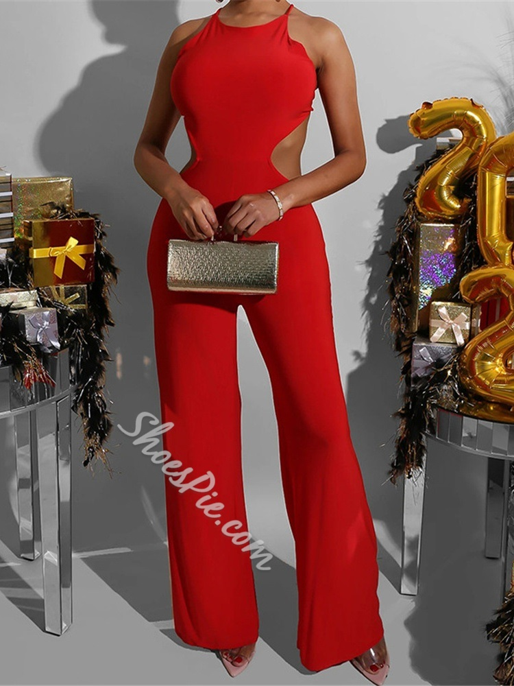 Red Full Length Sexy Lace-Up Wide Legs Women's Jumpsuit