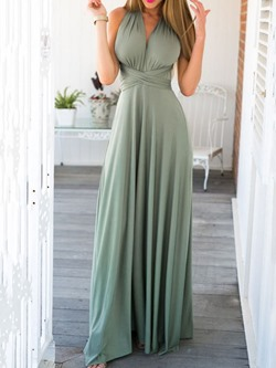 Backless Floor-Length Sleeveless Lace-Up Women's Dress