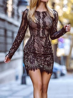 Black Lace Round Neck Long Sleeve Women's Dress