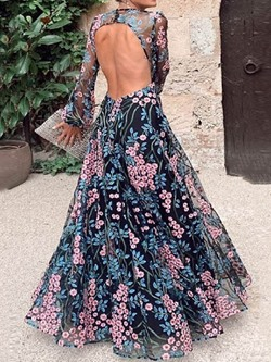 Embroidery Backless Floor-Length Round Neck Long Sleeve Women's Dress