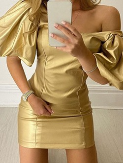 Golden Party Square Neck Pleated Bodycon Women's Dress