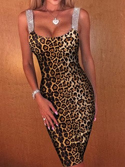 Sexy Leopard Sleeveless Spaghetti Strap Bodycon Women's Dress