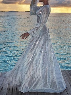 Elegant Silver Sequins Long Sleeve Floor-Length Women's Dress