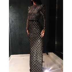 Sequins Stand Collar Floor-Length Long Sleeve Women's Dress