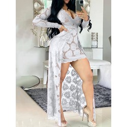 Hollow Lace Asymmetric V-Neck Long Sleeve Pullover Women's Dress
