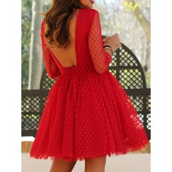 Sweet Backless Polka Dots See-Through Pullover Women's Dress