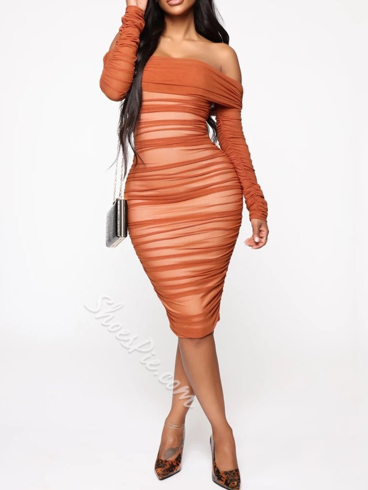 Off Shoulder Pleated Pullover Long Sleeve Women's Dress