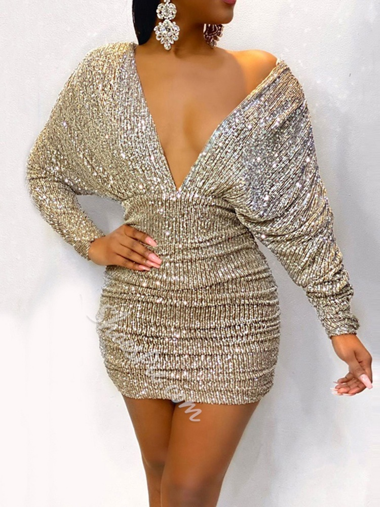 Champagne Sequins Above Knee Long Sleeve Pleated Women's Dress