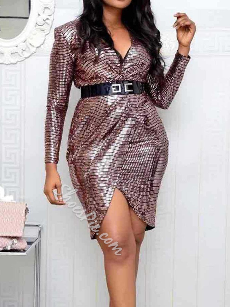 Asymmetric Sequins Nine Points Sleeve Sexy Women's Dress