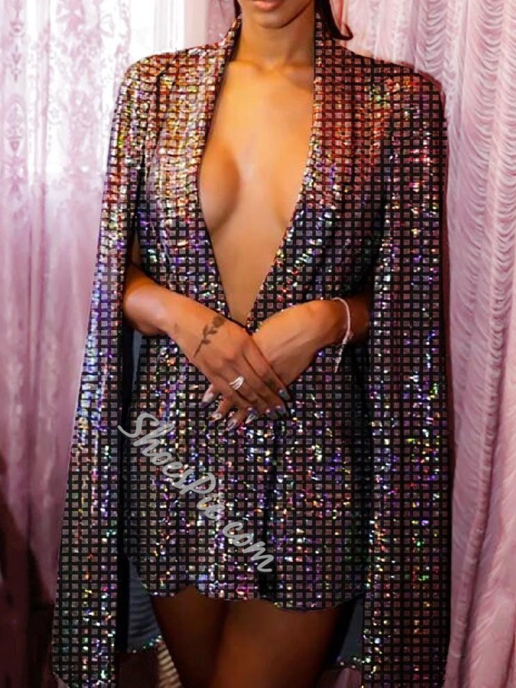 Sexy Sequins Party V-Neck Above Knee Mid Waist Women's Dress