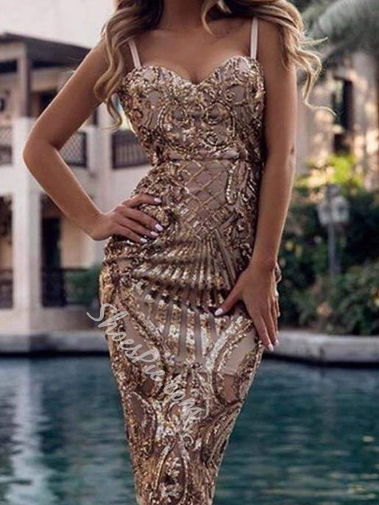 Party Sexy Champagne Sequins Sleeveless Spaghetti Strap Pencil Women's Dress