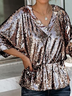 Sequins Batwing Sleeve V-Neck Pleated Loose Women's T-Shirt
