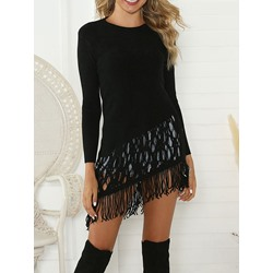 Casual Black Tassel Mid-Length Women's Sweater