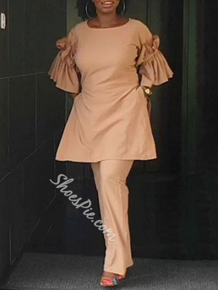 Casual Light Apricot Pleated Women's Two Piece Sets