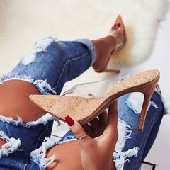Shoespie Stylish See-Through Slip-On Rubber Mules Shoes