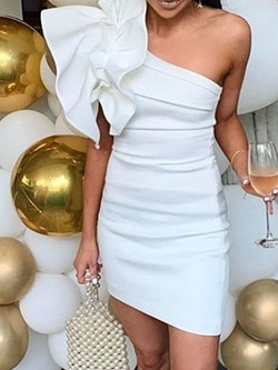 Party Sleeveless One-Shoulder Oblique Collar Mid Waist Women's Dress