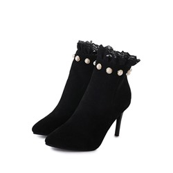 Shoespie Trendy Pointed Toe Side Zipper Patchwork Western Boots