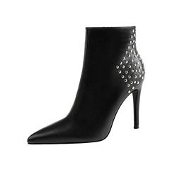 Shoespie Trendy Plain Side Zipper Pointed Toe PU Boots
