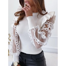Falbala White Lace Long Sleeve Women's Sweater