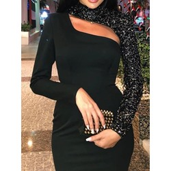 Hollow Sequins Long Sleeve Pullover Bodycon Women's Dress