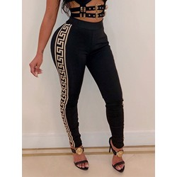 Casual Fashion Print Black Women's Leggings