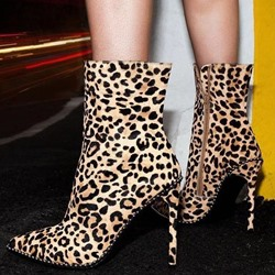 Shoespie Stylish Pointed Toe Side Zipper Leopard Western Boots