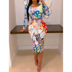 Casual Letter Print Round Neck Nine Points Sleeve Women's Dress
