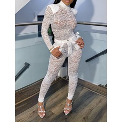 Lace Sexy White See-Through Women's Two Piece Sets