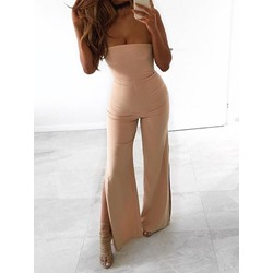 Casual Off Shoulder Split Wide Legs Women's Jumpsuit