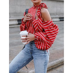 Puff Sleeve Stripe Long Sleeve Cold Shoulder Women's Blouse