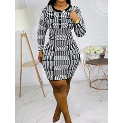 Houndstooth Round Neck Button Nine Points Sleeve Women's Dress