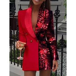 Red Sequins Double-Breasted Long Sleeve Women's Casual Blazer