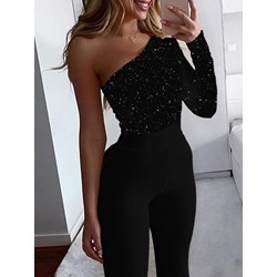 Sexy Black One Shoulder Asymmetric Skinny Women's Jumpsuit