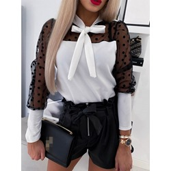 Polka Dots Mesh Bowknot Puff sleeve Women's Blouse